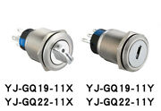 Metal Key Selector Switch Stainless Steel With Light 2/3pos Yj-gq19/22-11x/y