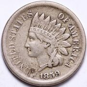 1859 Indian Head Cent Penny Choice Vf Free Shipping E509 Wcn