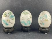 Vintage Alabaster Marble Hand Etched Carved Painted Eggs, Asian, Lot Of 3
