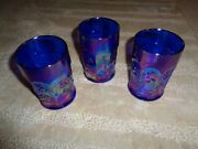 Antique 3 Cobalt Blue Carnival Glass Northwood Singing Birds Tumblers Thick Mold