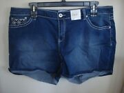 Ladies Plus Shorts Med Wash Embellished Sizes 18w ,20w , 22 W And 24 Simply Emma