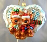 Radko Woodland Winds Ornament Some Bunnies In Love 998100 New Free Shipping