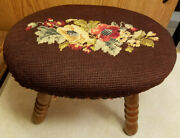 Antique Foot Stool Wood Needlepoint Top Brown Floral Design Mid Century Mcm