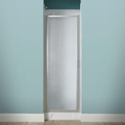 Lindstrom Shower Door 24 In. X 64 In. Framed Pivot In Silver With Pebbled Glass