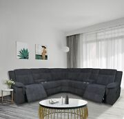 Motion Sofa Sectional Grey Fabric Reclining Living Room Couch Set W/storage