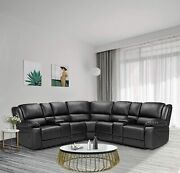 Sectional Sofa Power Motion Sofa With Cup Holder Black Leather Living Room