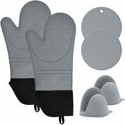 Kitchen Gloves Cooking Heat Resistant Silicone Oven Mitts And Pot Holders Set 6pcs