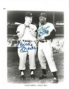 Mickey Mantle And Willie Mays Autographed 8x10 Baseball Photo Psa Letter Hofers