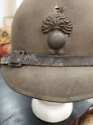 French Army Adrian M26 Helmet - Wwii - Liner + Chinstrap - Artillery Bomb Badge
