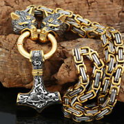 Bulk 100pc Norse Viking Stainless Steel Wolf Andthor Hammer Pendant Necklace