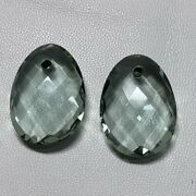 Green Amethyst Hydro Oval Briolette And Drill 25x18 Mm Excellent Pair 36.60 Ct