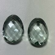 Green Amethyst Hydro Oval Briolette Cut And Drill 18x25 Mm Beautiful Pair 35.40 Ct