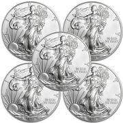 Lot Of 5 - 2015 1 Oz .999 American Silver Eagle 1 Coins Bu - In Stock