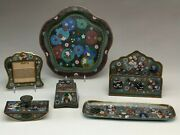 Very Fine 5 Pc Chinese Cloisonne Desk Set Together With A Cloisonne Lobed Platte