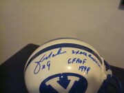 Jim Mcmahon Autographed Brigham Young Cougars Mini Helmet Signed 2x Am And Hof Jsa