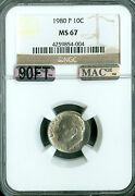 1980-p Roosevelt Dime Ngc Mac Ms67 90ft Pq Finest Spotless 5,000.00 In Ft