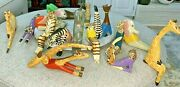 Vintage Set Of 16 Carved Wood Animals Signed Moro Exercise Theme Workout Clothes