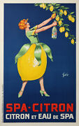 Spa Lemon Pur Juice And Spa Water Original Vintage Poster 1930
