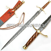 John Henry Hand Forged Damascus Steel Hunting Sword Dagger Natural And Olive Wood