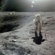 Astronaut Charlie Duke Collecting Lunar Samples During Apollo 16 Photo Print