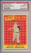 Mickey Mantle 1958 Topps All Star 487 Psa 8