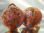 Vintage 40and039s Pink Rose Copper Wedding Foil Cake Sweet Dainty Clip Earrings 568m1