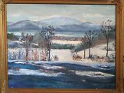 Antique Golden Framed Original Oil Painting Concord Nh Signed 30.5 By 25