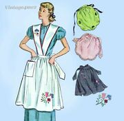 Simplicity 2560 1940s Charming Embroidered Apron Sz Med Vintage Sewing Pattern