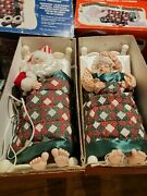 Vintage Telco Sleeping Mr. And Mrs. Santa Clause Snoringmotionettes In Boxes