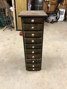 10 Drawer Tall Primitive Country Set Of Drawers Made From Tobacco Boxes