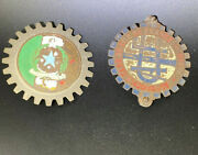 Vintage Pair Of Italy And France Clubs Car Grill Badges Bress Used