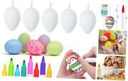 20pcs White Easter Eggs Plastic With 8 Color Pens For Diy Doodling And Large