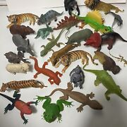 """Lot Of 25 Different Wild Zoo Animals Dinosaurs Figures Plastic Rubber 6"""" - 10"""""""