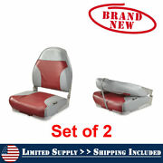 Boat Seats 2 Pack Red And Gray Folding High Back Uv Treated Marine Vinyl Seats New