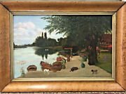 Antique Picturesque Oil Painting Home On Lake W/ Dogs Swans And More Dated 1887