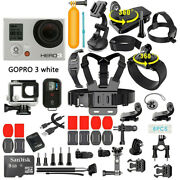 Gopro Hero3 White Edition Action Camera With 40 Pcs Accessory, Remote Control