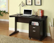 Writing Desk Study Table W/ File Cabinet Laptop Home Office Workstation Wood New