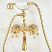Gold Color Brass Bathroom Wall Mount Clawfoot Bath Tub Faucet And Handheld Shower
