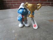 Vintage Pvc Smurf Figure Toy Trophy Gold Cup Schleich Germany 2003 52