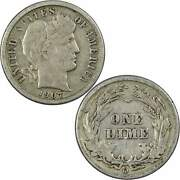 1907 O Barber Dime F Fine 90 Silver 10c Us Type Coin Collectible