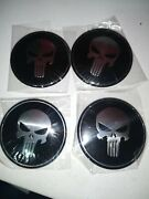4pcs 56mm Skull Punisher Wheel Rim Center Hub Cap Sticker Emblem Decals Red 2.25