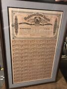 Confederate States Of America- 1864 Loan Bond - Complete - Framed And Matted Coa