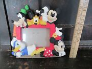 Disney Mickey Minnie Mouse Pluto Donald Duck Goofy Picture Frame Nice