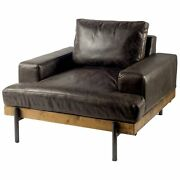 Dark Brown Moroccan Leather Wide Accent Chair W/ Wood And Black Iron Base