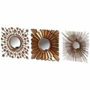 Set Of 3 Brass Wall Mirror Candle Holders