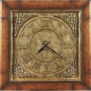 Heritage Hand Painted Pencil Edged Glass Clock Coffee Table With Pewter Finish