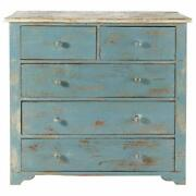 Indian Handmade Antique Style Wooden Chest Of 5 Drawers Blue