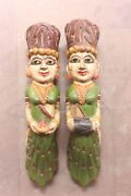 Pair Of Wooden Old Palanquin Angel Wall Decor Wooden Dolls,vintage Wooden Doll