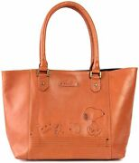 Peanuts Snoopy Tote Bag Leather Cute Woodstock A4 Size Snp-002 Music