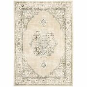 10and039x14and039 Beige And Ivory Center Jewel Indoor Area Rug